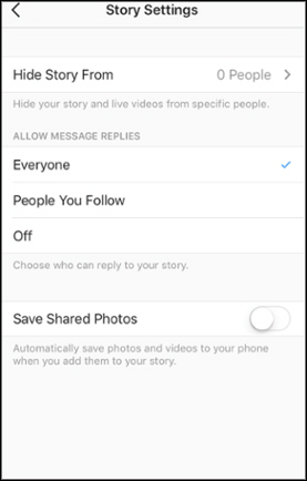 story setting instagram