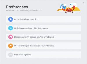 news feed preference setting