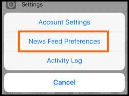 Facebook Newsfeed Preferences settings